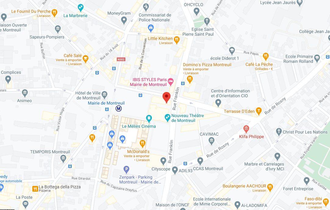 google map homeogum pharmacie de la mairie de montreuil